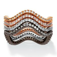 1.12 TCW 4-Pc. Set CZ Bands Black, Rose, Gold and Silvertone