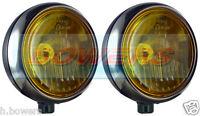 "2x SIM STAINLESS STEEL CHROME 7"" CIBIE OSCAR YELLOW AMBER LENS SPOT LIGHTS LAMPS"