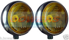 "PAIR OF STAINLESS STEEL CHROME 7"" CIBIE OSCAR YELLOW SPOT/DRIVING LAMPS/LIGHTS"