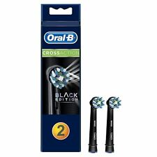 2 x Oral-B CrossAction Replacement Electric Toothbrush Heads Pack, Black Edition
