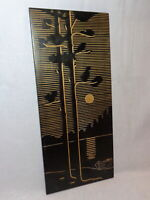 Two Pine Trees Moonlight Lake Boat 1972 Vtg Black Painting Carved Wooden Picture