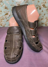 Size 10 M Crocs Brown Mocha Leather Slip On Casual Fisherman Sandals Shoes Mens