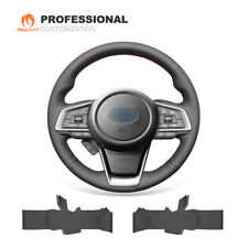 Black Genuine Leather Steering Wheel Cover for Subaru Forester Ascent Outback