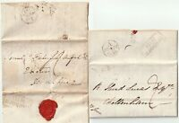 1822/38 x 2 HOLBORN HILL PMK LETTERS 1 SAMUEL BENTLEY RE SATERIST COMMUNICATION
