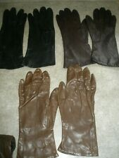 Lot of 3 Vintage Leather Woman's Gloves size 7 & 7.5 Brown, Black
