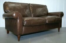 DARK BROWN LEATHER LAURA ASHLEY SOFA BED