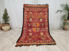 """Handmade Moroccan Mzouda Vintage Berber Rug 3'5""""x6'9"""" Floral Wool Red Carpet"""