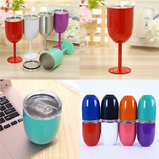 10oz Stainless Steel Wine Tumbler Rambler Cup Double Wall Insulated Goblet w/Lid