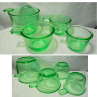 Set of 4 Green Glass Measuring Nesting Cups 1/4c 1/3c 1/2c 1c