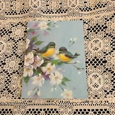 Vintage Greeting Card Note Blue Birds Flowers