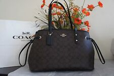 NWT Coach F57842 Signature Drawstring Carryall Shoulder Bag in Brown/Black