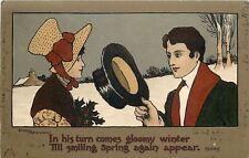 Ethel Parkinson~Dickensian Couple~Man Tips Hat~Gloomy Winter~Smiling Spring
