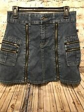 BOOM BOOM Blue Solid Jean Denim Mini Skirt Size M With Zippers