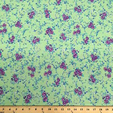 Amanda Green Print Fabric Cotton Polyester Broadcloth By The Yard 60""