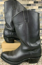 Mason Pull-On Black Leather Western Biker Boot's Men's Size 8.5 C Oil Resistant