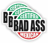 "3pk 2"" Bad Ass Mexican Union Hard Hat Stickers/ Laborer/Welder/Worker"