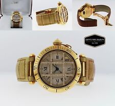 CARTIER Pasha 38MM Model 1023 18Kt Yellow Gold Men's Watch w/ OG Diamond Cage