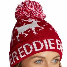 203d70cf66e47 NWT Eddie Bauer Slope Side BEANIE Cuff Pom SCARLET RED   WHITE Ski Play  ADULT OS