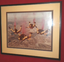 Framed Picture Army Skydivers Golden Knights vintage Sky Diving Parachuting