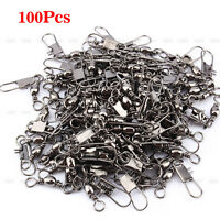100Pcs Silver Barrel Swivel Solid Rings Connector Adapter Fishing Tool Tackle JS