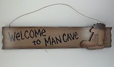 """Welcome To Man Cave Wood Wall Sign 18"""" Wire Hang Game Room Beer Bar New Funny"""