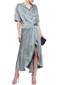 NWT Burberry London Silk Satin MIDI Wrap Dress, 10 UK, 8 US, 42 IT, Gray, $1295