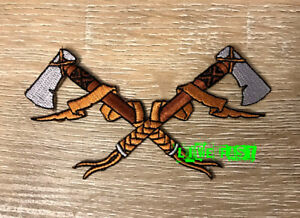 CROSSED HATCHETS AXES EMBROIDERED PATCH viking norseman nordic odin thor biker