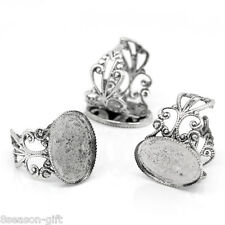 50PCs Adjustable Rings Base Blank Settings Hollow Round Silver Tone 18.3mm US8