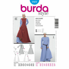 Burda SEWING PATTERN 7977 Ladies Medieval Costume Dress,Overdress & Cap 10-24