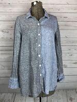 Habitat Women's Linen Shirt Button Down Striped Lagenlook Blue Black Xs