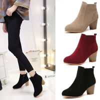 Autumn Women Martin Ankle Boots Chunky Block High Heel Zipper Casual Short Shoes