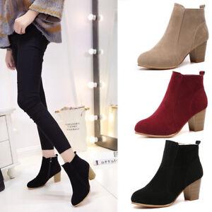 Autumn Women Short Ankle Boots Chunky Block High Heel Zipper Casual Short Shoes