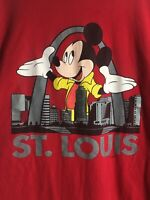 Mickey Mouse St Louis by Mickey Unlimited T Shirt Red XL Made in USA Vintage