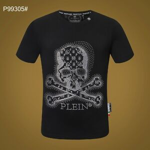 PHILIPP PLEIN Black Skull Beading Men Casual T-shirt #P99305 M-3XL