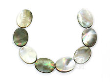 """8 Black Mother of Pearl Flat Oval 19x25mm 8"""" #75057"""