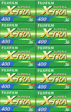 10 Rolls Fuji Fujicolor Superia X-tra CH ISO 400 36 35mm Color Print Film