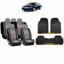 12PC GRAY MESH AIRBAG SEAT COVERS SPLIT BENCH & BLACK RUBBER MATS FOR CARS 3044
