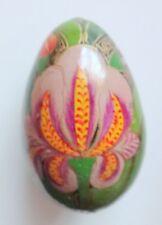 Vintage Hand Painted Wooden Iris Flower Easter Egg Decoration