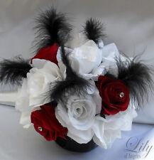 4 Centerpieces Wedding Table Decoration Center Piece Flowers Vase Silk RED WHITE