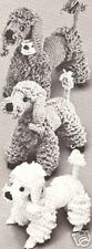 """Vintage Crochet PATTERN to make Toy Dogs Puppy French Poodle Family 8-10-12"""""""