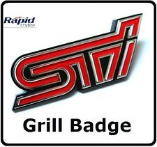 STI Grill Badge Red Rally WRX WRC Emblem Decal Logo Car Impreza Grille (103g)