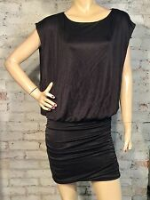 BCBG MAX AZRIA DRESS SMALL S COCKTAIL BODYCON BLOUSON BLACK TIGHT MINI SATIN