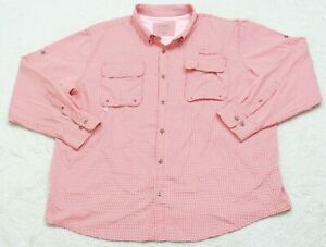 Dress Shirt XXL Button Front Long Sleeve Mens Mans Cabelas Red White Two Pocket