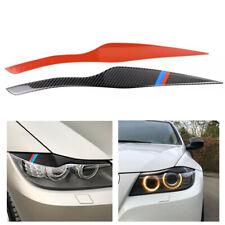2Pc Black Headlight Eyelid Cover Carbon Fiber Car Decoration Sticker for BMW E91