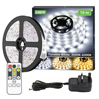 Lepro 10M LED Strip Lights with Remote and Plug, Warm White to Cool Daylight,