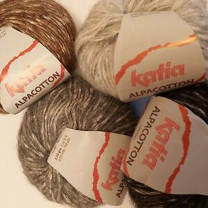 Knitting Yarn ~ Katia Alpacotton ~ 50g balls of cotton & alpaca aran weight