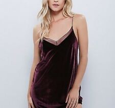 Intimately Free People Maroon Burgundy Velvet Deep Back Strappy Dress Small M L