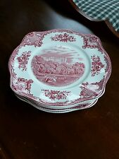 Set of 4 Johnson Brothers Pink Old Britain Castles Square Luncheon Plates