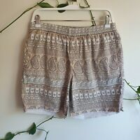 Vintage 90s Stussy Tan White Paisley Print Cotton Board Shorts 32 Frayed Hems