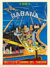 Habana City Cuba Caribbean Island Instituto Vintage Travel Advertisement Poster